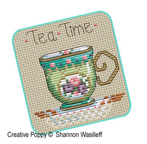 Shannon Christine Designs Teatime Tea Cups Cross Stitch
