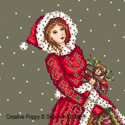 Victorian lady cross stitch pattern by Shannon Wasilieff, zoom 1