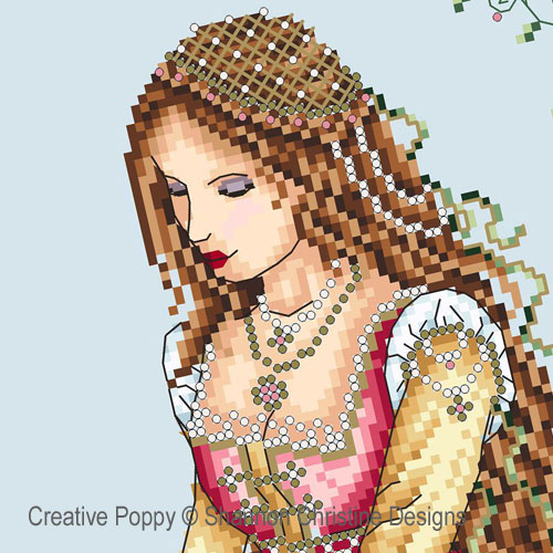 Italian Lady cross stitch pattern by Shannon Christine Designs