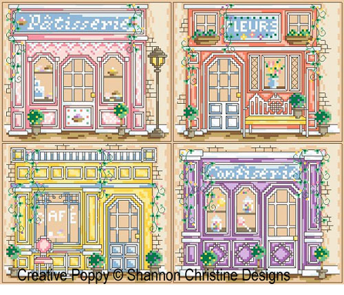 Parisian Shoppe Fronts cross stitch pattern by Shannon Christine Designs