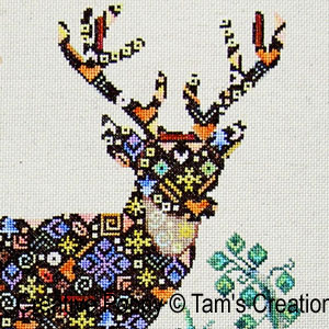 Deer-in-Patches cross stitch pattern by Tam's Creations