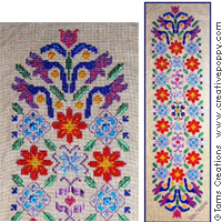 <b>Floral satin Banner</b><br>cross stitch pattern<br>by <b>Tam\'s Creations</b>