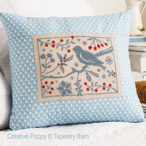 Birds and Berries Winter Cushion cross stitch pattern by Tapestry Barn