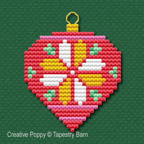 Bright Baubles Retro Ornaments cross stitch pattern by Tapestry Barn, zoom 1