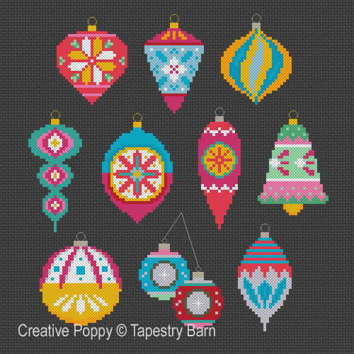 Bright Baubles Retro Ornaments cross stitch pattern by Tapestry Barn