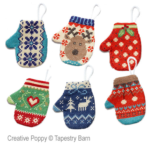 Christmas Mittens decorations cross stitch pattern by Tapestry Barn