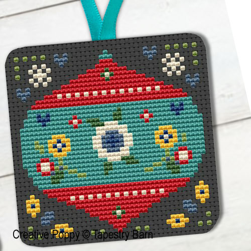 Festive Folk Art Ornaments cross stitch pattern by Tapestry Barn, zoom 1