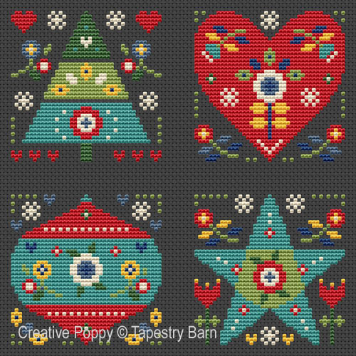 Festive Folk Art Ornaments cross stitch pattern by Tapestry Barn