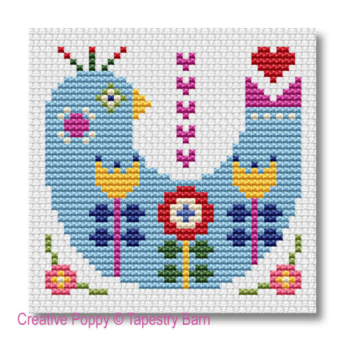 Folk Art Cards cross stitch pattern by Tapestry Barn, zoom 1