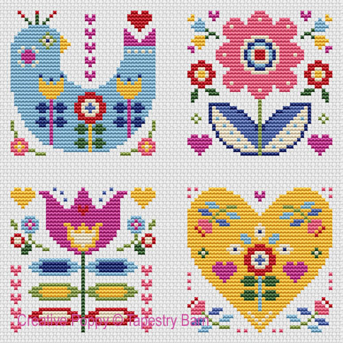 Folk Art Cards cross stitch pattern by Tapestry Barn