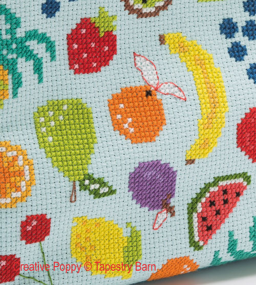 Fruity Lunch Bag cross stitch pattern by Tapestry Barn, zoom 1