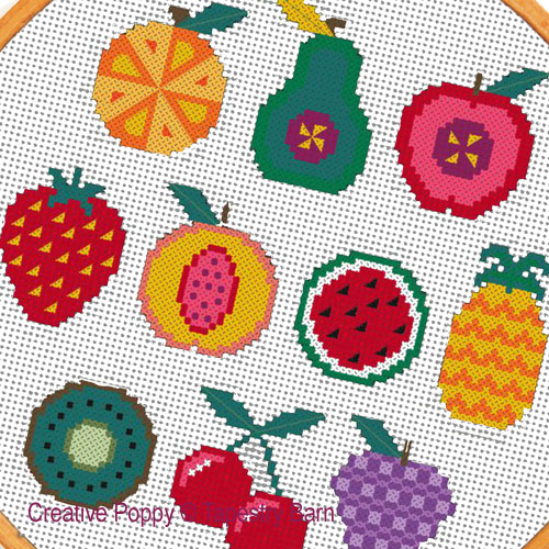 Fruity Sampler - 10 Fruit motifs cross stitch pattern by Tapestry Barn, zoom 1