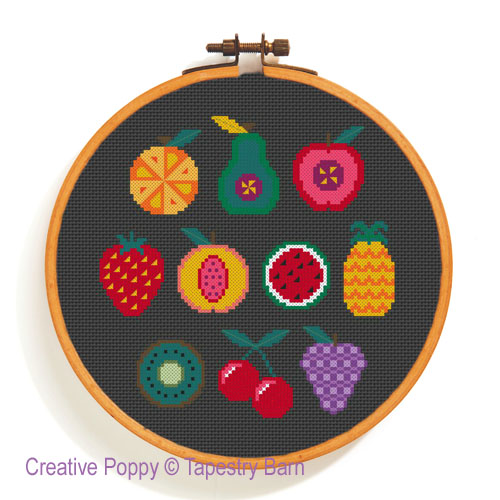 Fruity Sampler - 10 Fruit motifs cross stitch pattern by Tapestry Barn