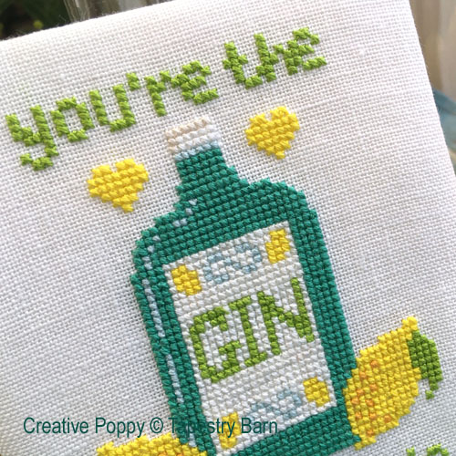 Gin & Tonic - Love Quote cross stitch pattern by Tapestry Barn, zoom 1