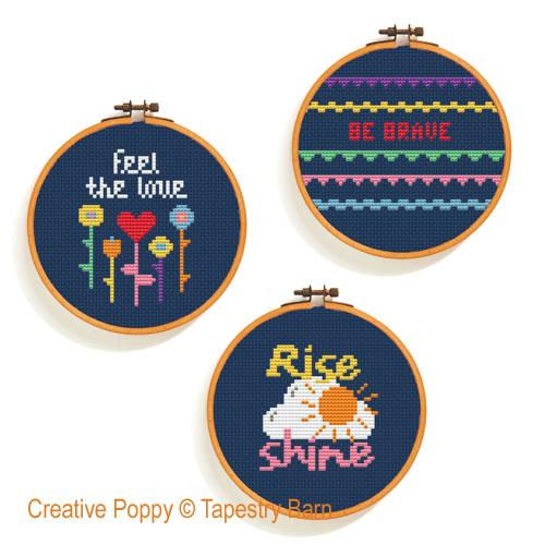Happy Days - Mini Hoop Trio cross stitch pattern by Tapestry Barn