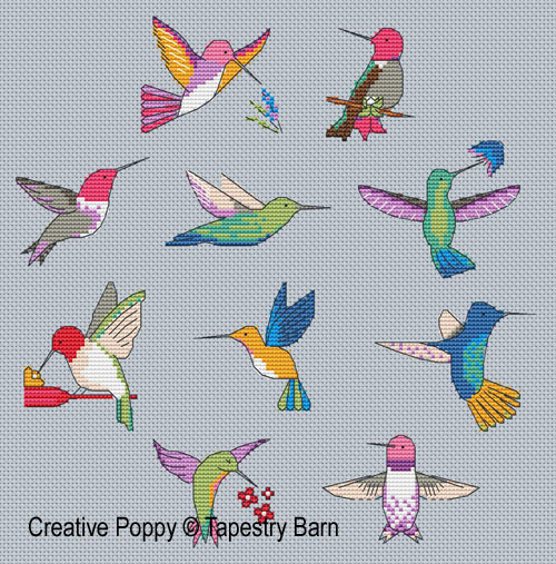 Hummingbirds - Flight of fancy cross stitch pattern by Tapestry Barn