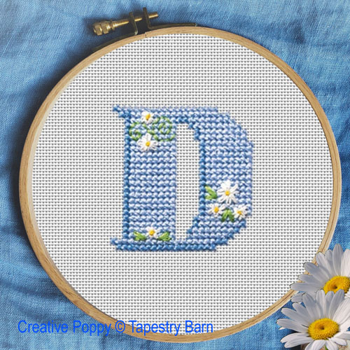 Lazy Daisy ABC cross stitch pattern by Tapestry barn, zoom 1