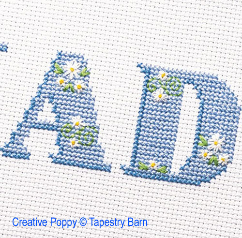Lazy Daisy ABC cross stitch pattern by Tapestry barn