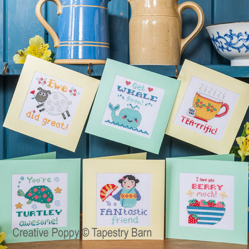 Pun-tastic Greeting cards cross stitch pattern by Tapestry Barn