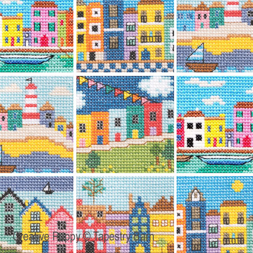 Rainbow Houses cross stitch pattern by Tapestry Barn
