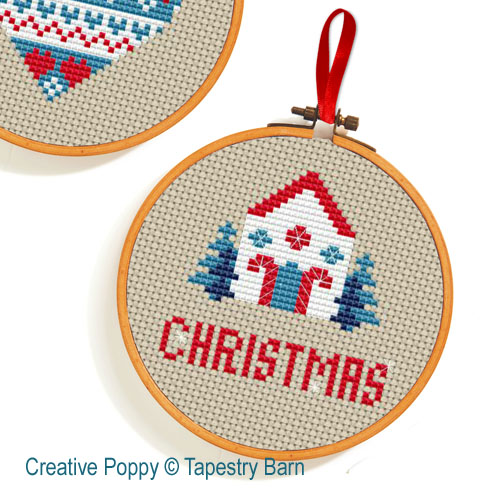 Scandi Hoops Christmas Ornaments cross stitch pattern by Tapestry Barn, zoom 1