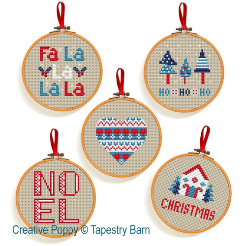 Scandi Hoops Christmas Ornaments cross stitch pattern by Tapestry Barn