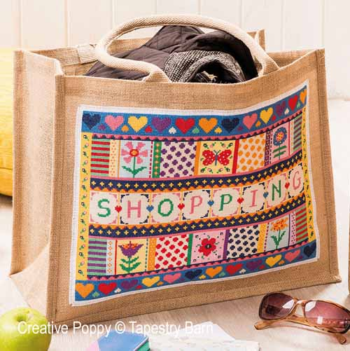 Shopping bag cross stitch pattern by Tapestry Barn