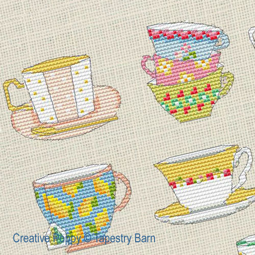 Time for Tea - 8 Teacup motifs cross stitch pattern by Tapestry Barn, zoom 1