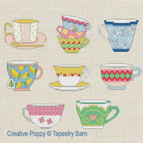 Time for Tea - 8 Teacup motifs cross stitch pattern by Tapestry Barn