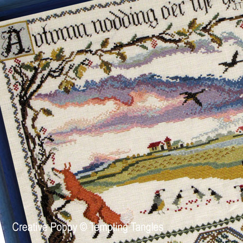 Autumn nodding cross stitch pattern by Tempting Tangles, zoom 1