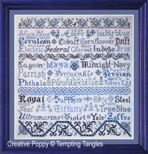 Tempting Tangles - Broderie Bleue (cross stitch chart)