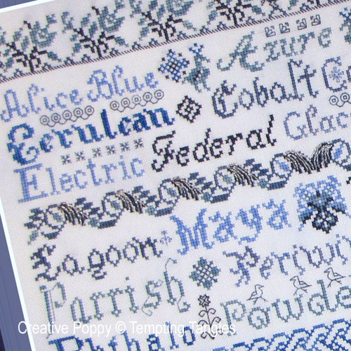 Tempting Tangles - Broderie Bleue zoom 1 (cross stitch chart)
