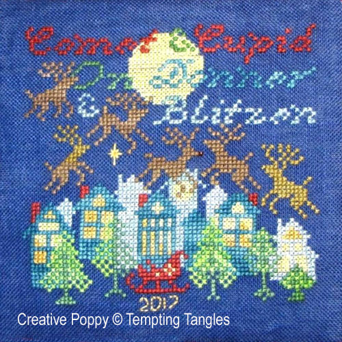 Tempting Tangles - Comet & Cupid - Christmas Ornament (cross stitch chart)