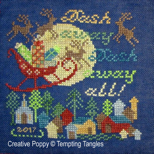 Tempting Tangles - Dash Away All! Christmas Ornament zoom 1 (cross stitch chart)
