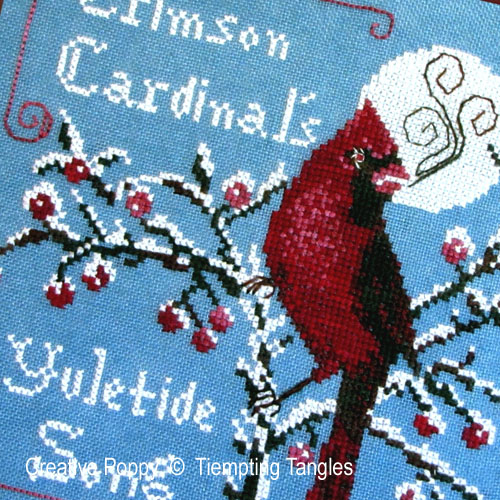 Crimson Cardinal cross stitch pattern by Tempting Tangles Designs, zoom 1