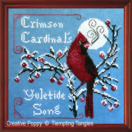 Crimson Cardinal cross stitch pattern by Tempting Tangles Designs