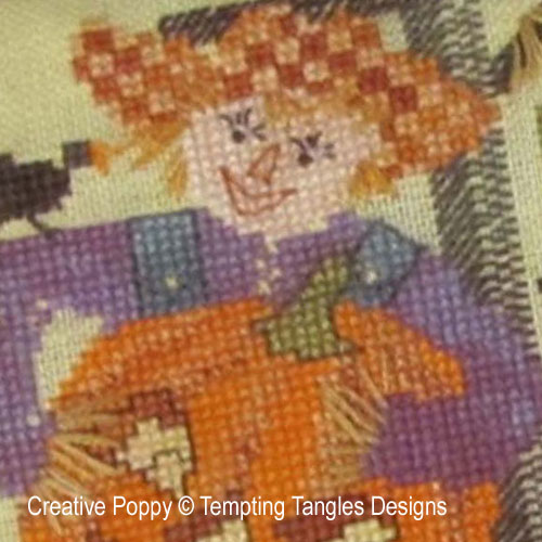 Scarecrow Sam's Jack-o-Lantern cross stitch pattern by Tempting Tangles Designs, zoom 1