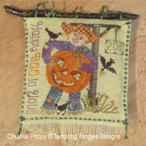 Scarecrow Sam's Jack-o-Lantern cross stitch pattern by Tempting Tangles Designs