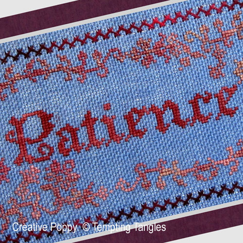 Patience cross stitch pattern by Tempting Tangles, zoom 1
