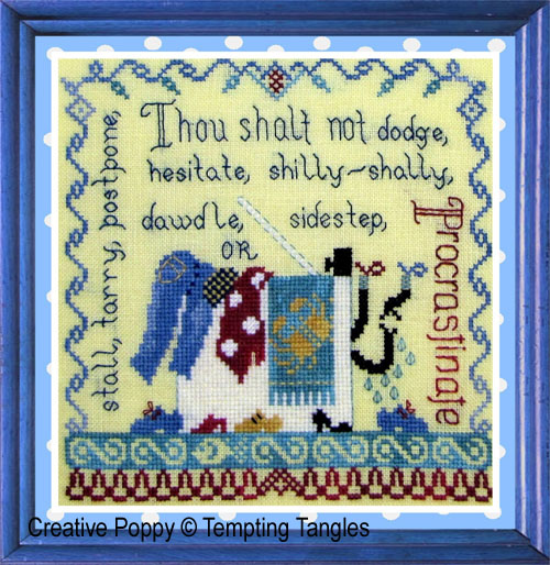Procrastination cross stitch pattern by Tempting Tangles