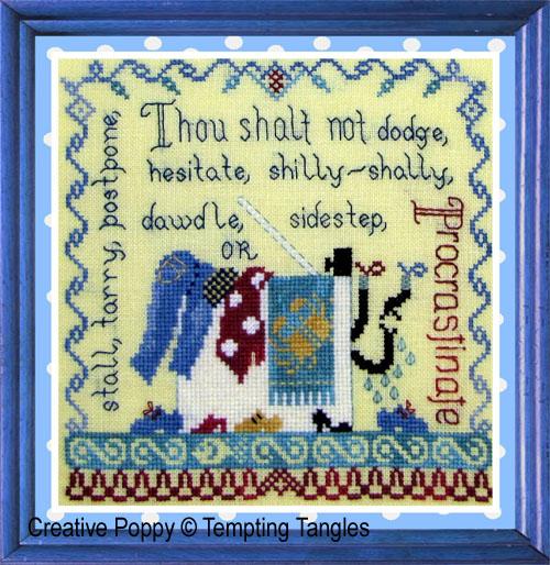 Procrastination cross stitch pattern by Tempting Tangles