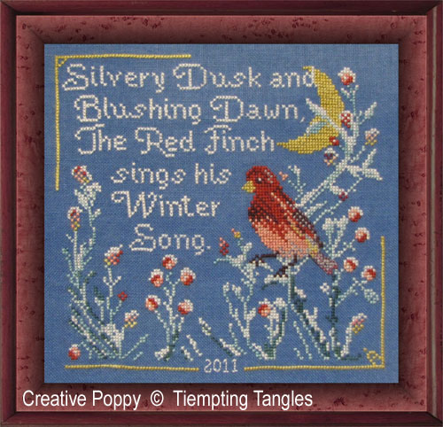 Red Finch Winter Song cross stitch pattern by Tempting Tangles Designs