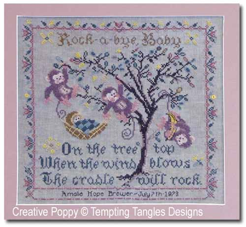 Tree Top Birth Sampler cross stitch pattern by Tempting Tangles Designs