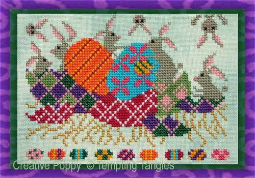 Who hid our Easter Eggs cross stitch pattern by Tempting Tangles Designs