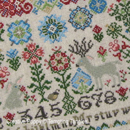Wildflower Woodlands Quaker cross stitch pattern by Tempting Tangles