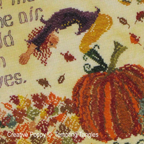 Halloween and Fall cross stitch patterns designed by <b>Tempting Tangles Designs</b>