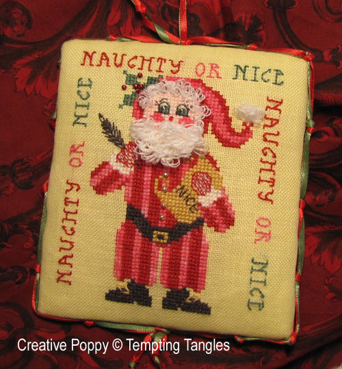 Tempting Tangles - Naughty or Nice Santa - Christmas Ornament (cross stitch chart)