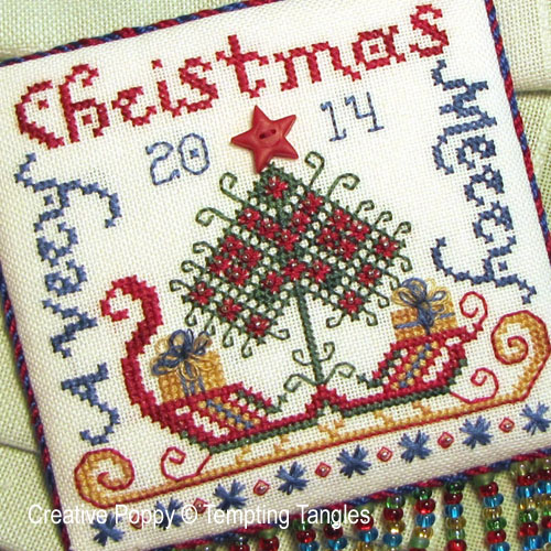 Tempting Tangles - Santa's Sleigh - Christmas ornament (cross stitch chart)