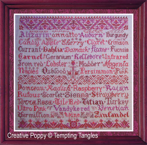 Tempting Tangles - Scarlet Letters (cross stitch chart)
