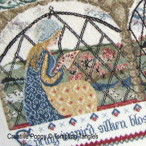 Spring inspir'd Stitcher cross stitch pattern by Tempting Tangles, zoom 1